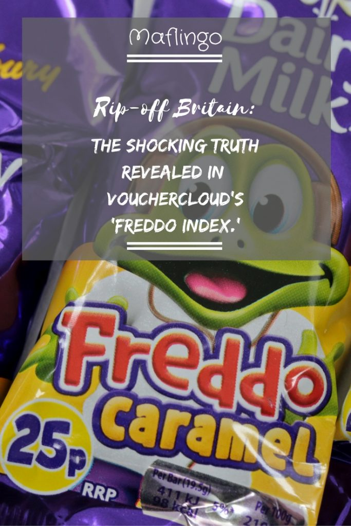 Rip-off Britain The Shocking Truth revealed in Vouchercloud's 'Freddo Index'. How old favourites likeCadburys Freddos, Mars Bars, CInema TIckets and the humble Beano comic have risen in price by inflation-busting amounts since 2000.