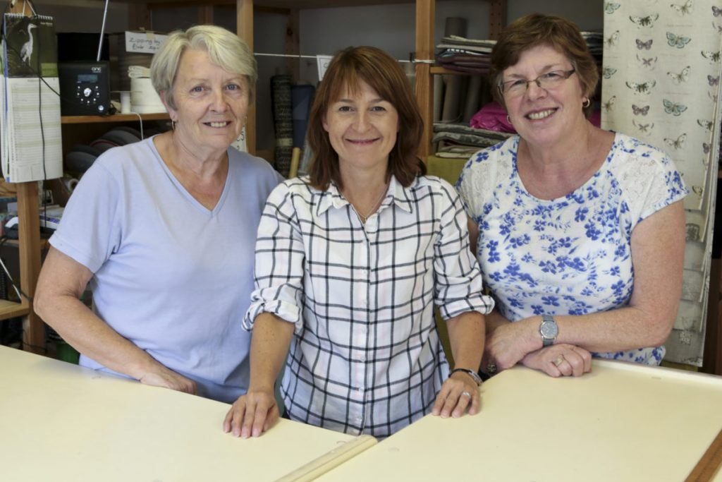 Sue, Caroline and Steph, the bargain fabric staff