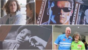 Collage of photo's showing CHris and his mu, A drawing of Arnie Schwarzenegger in Terminator, Michael Jackson