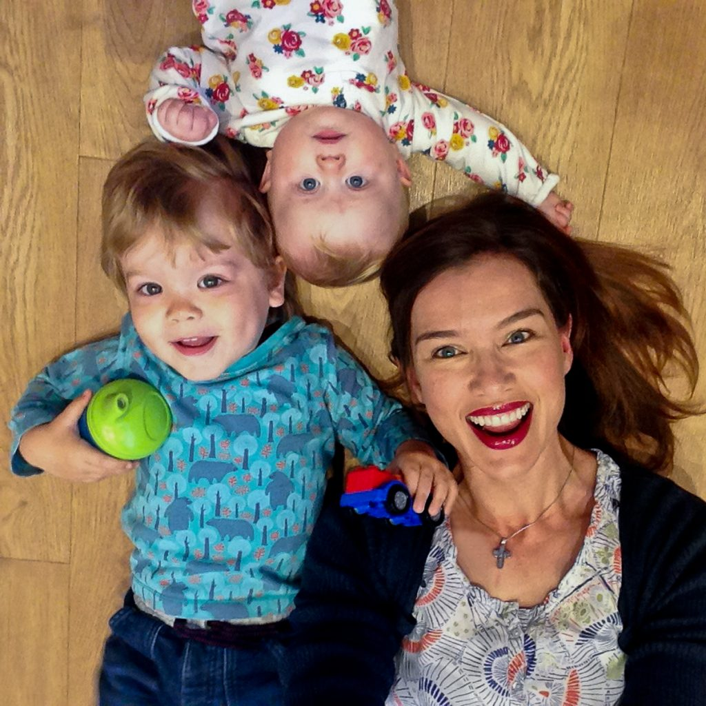 #Floorselfies Me and my niece and nephew on a wood effect kitchen floor