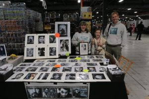 Emily and Chris Baker's parents manning Chris's stall at Manchester Film and Comic Convention, 2016