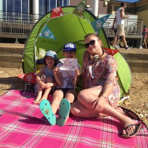 The kids in a beach tent on Hunstanton Beach