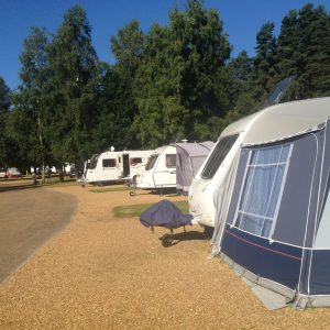 Our caravan in the foreground at Sandringham Caravan Club Site