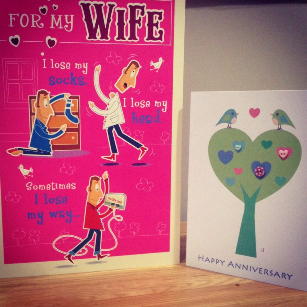 Our 18 year wedding anniversary cards to each other.