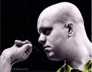 Chris Baker drawing of Darts Champion, Michael Vangerwen