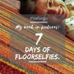 My week in pictures 7 days of #floorselfies with selfie of me lying on a stripy rug.