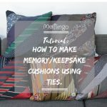 Step-by-step sewing tutorial on How to make a cushion using ties / neckties. Picture of 5 different colour schemes of cushions made from neck ties stacked on a sofa.