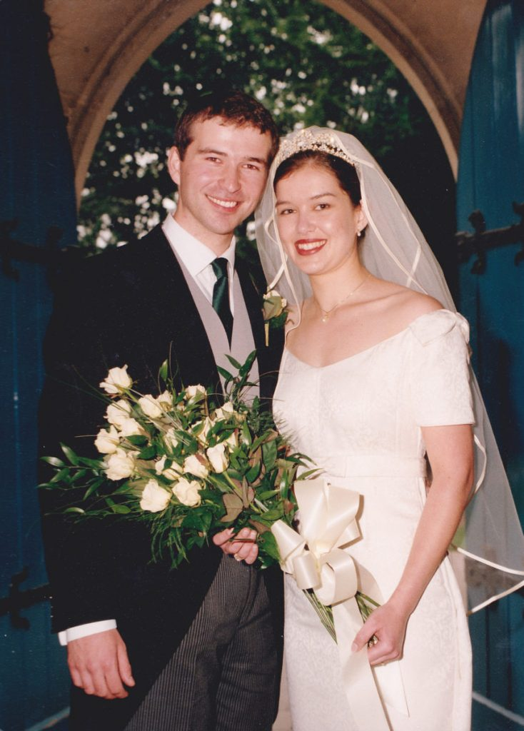Richard and Jane in the doorway of the church on their wedding day, 18 years ago.