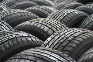 Rows of car tyres