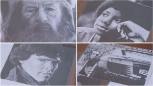 A collage of Chris Baker's Drawings, Gandalf, Michael Jackson, Benedict Cumberbatch, a car.