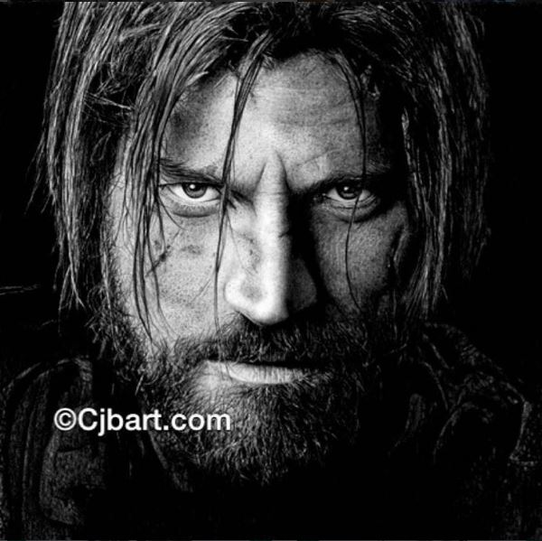Chris Baker drawing of Jaime Lannister, Game of Thrones