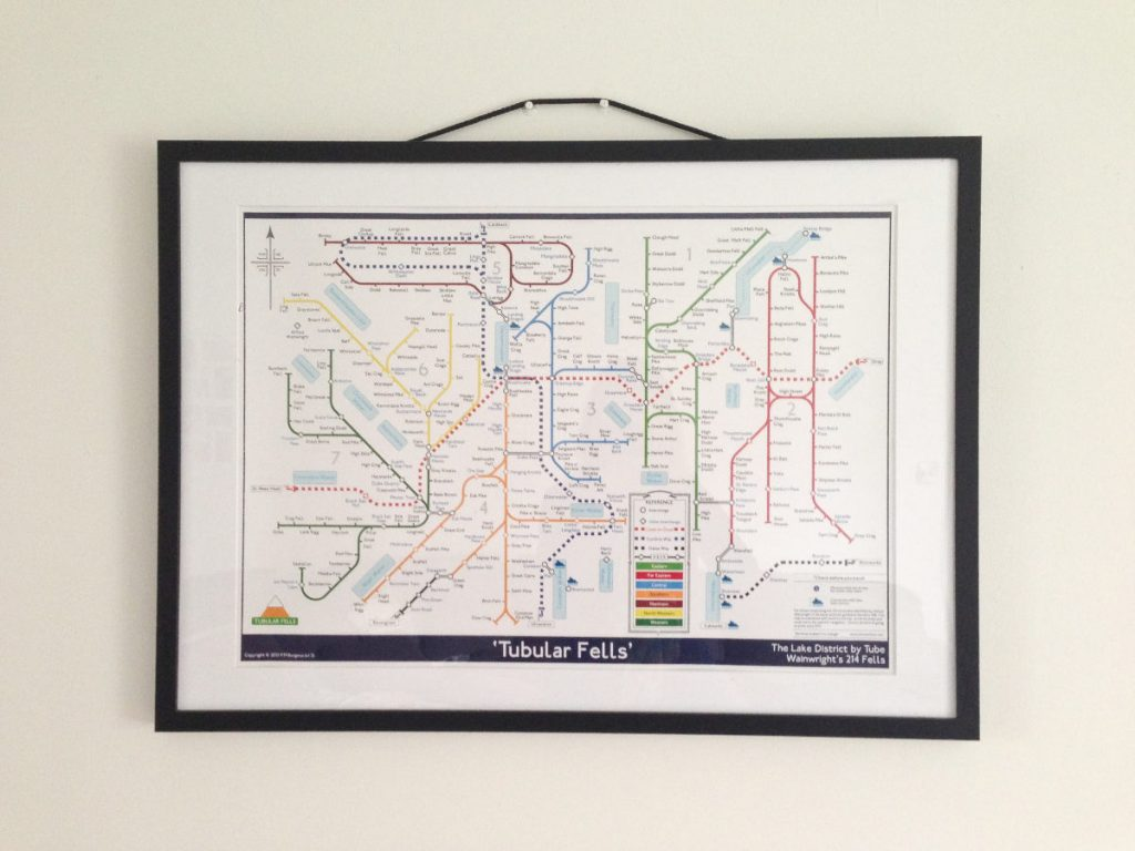 Framed print of 'Tubular Fells' is a topological map of Alfred Wainwright's 214 fells, akin to the London Underground map devised by engineering draughtsman, Harry Beck in 1931.