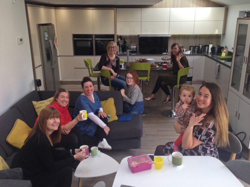 #BloggersBeatingCancer Coffee Morning gathering with Nottingham Bloggers seated and facing camera