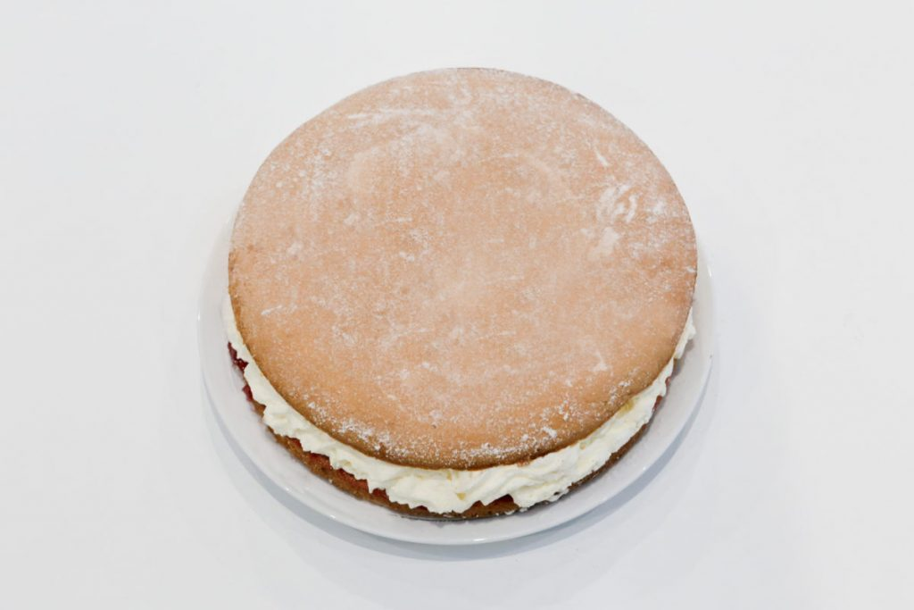 We brushed the excess icing sugar off the top of the sponge cake