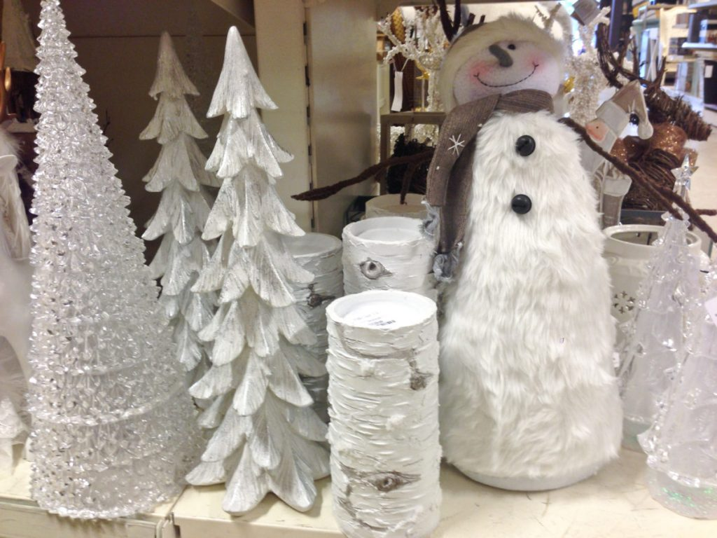 White snowmen and Christmas tree decorations at Homesense