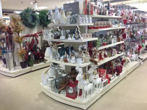 Fully stocked shelves filled with Homesense CHristmas Decorations, Gifts and ornaments