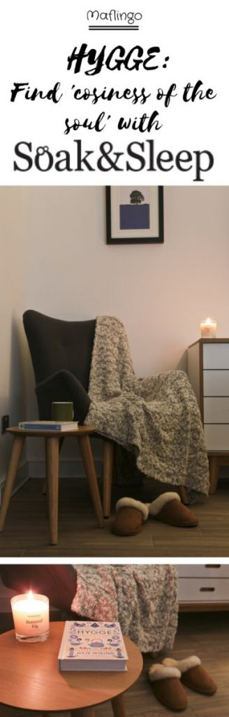 Hygge: Find 'cosiness of the soul' with Soak & Sleep with candles, cable knit cotton throw, cosy sheepskin slippers, a cosy armchair in a nook.