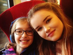 Growing up fast! Our two girls on the train heading for London.