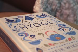 Close-up shot of the 'Little Book of Hygge' by Mike Wiking
