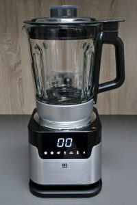 Portrait photo of the Lakeland Touchsceen soup maker on the kitchen worktop