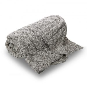 Cotton Cable Knit Throw in natural/grey Double 150cm x 200cm