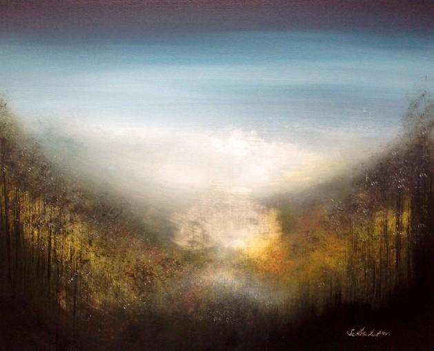 Misty landscape painting