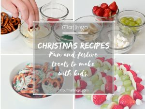 Christmas food and recipe ideas: fun, festive and delicious treats which are perfect for making with kids. White chocolate coated pretzels with green and red sugary sprinkles and Santa Hat fruit skewers