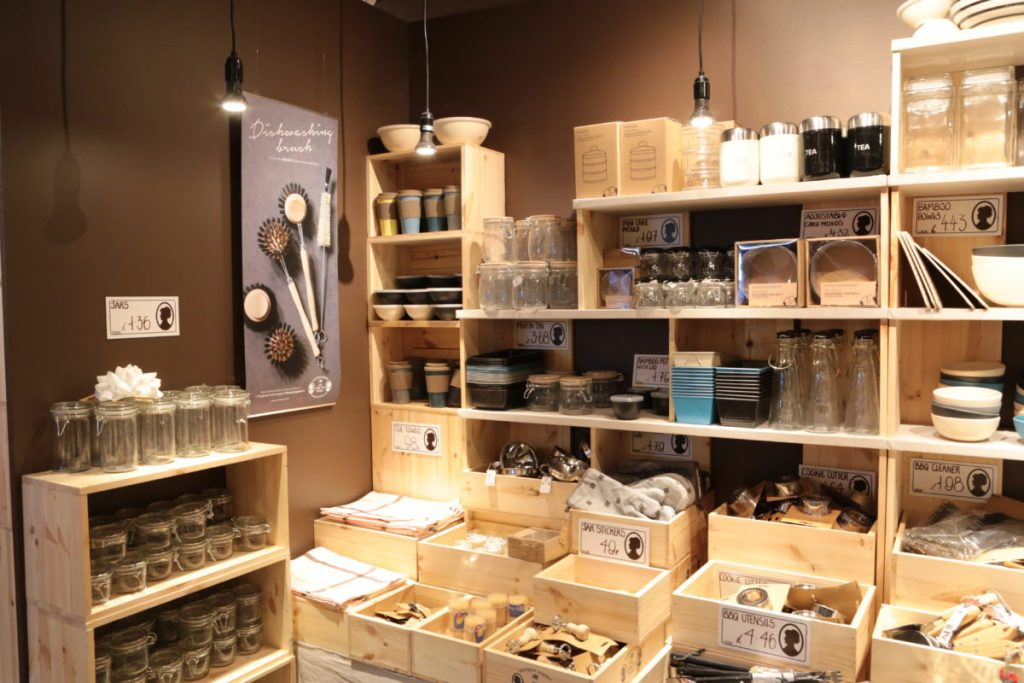 SHelves filled with jars and homewares