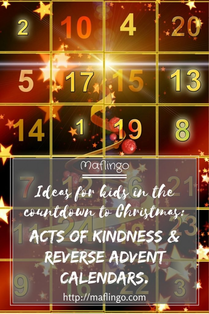 Ideas for kids in the countdown to Christmas. Let's follow blogger Jen Walshaw's ideas for changing the focus of Advent from receiving to giving again so kids share in the joy of Christmas with 50 Advent Acts of Kindness and a Reverse Advent Calendar