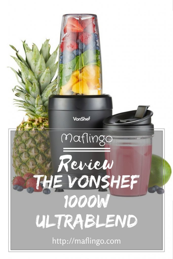 Review The VonShef 1000w UltraBlend blender will blend your fruit and vegetables to make smoothies, milkshakes, drinks, soups and purees. This powerful kitchen food processor purees, pulverises and blends quickly and is a bargain price
