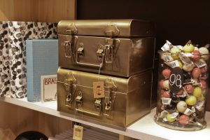 Christmas goods on display in Søstrene Grene Nottingam Metallic gold case