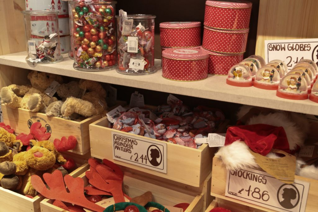 Christmas goods on display in Søstrene Grene Nottingam