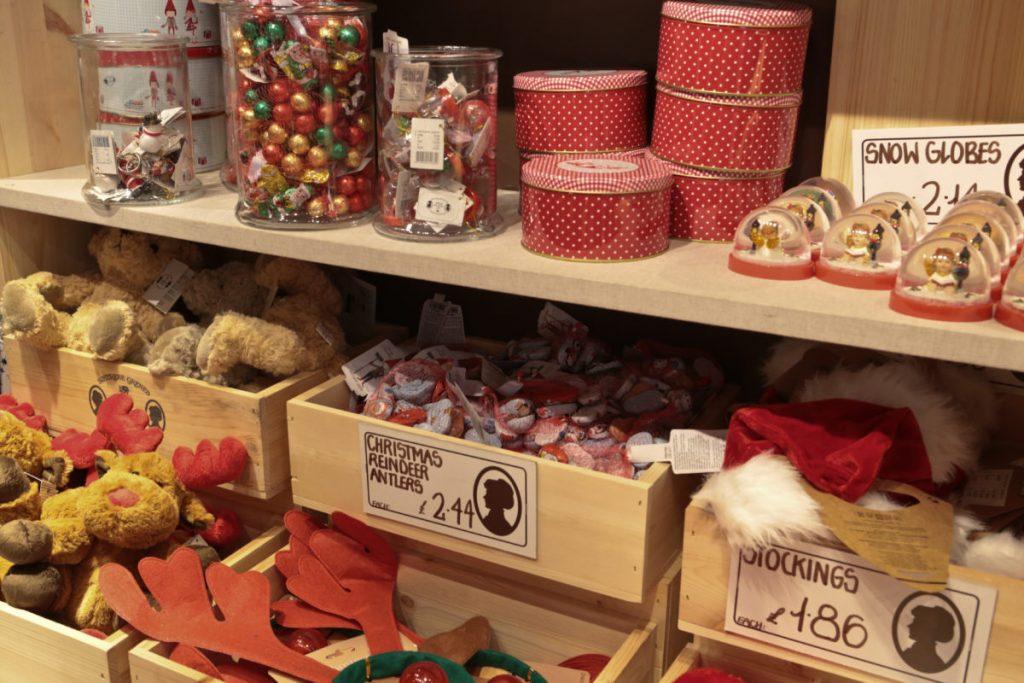 Christmas goods on display in Søstrene Grene Nottingam