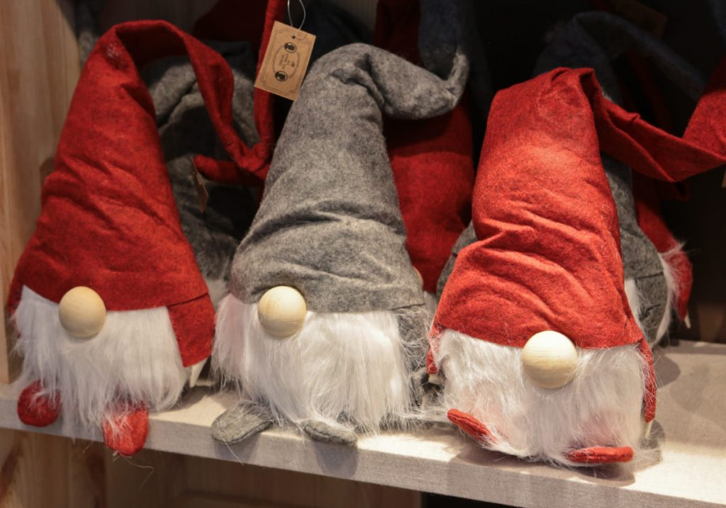 Christmas Santas Christmas goods on display in Søstrene Grene Nottingam