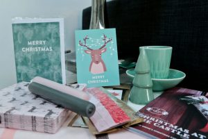 Some of the items I've brought home from Søstrene Grene Nottingam. Including Teal ceramic cup and saucer, ceramic Christmas tree, Cards, candles, napkins, ribbons, catalogue.