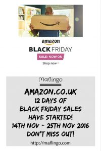 The Black Friday Sale at Amazon has started. This year it started early and will run for 12 days. Get shopping early for Christmas. Buy cut-price bargain gifts of technology, books, DVDs, toys, Audio, Visual, phones, fashion items now!