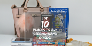My Top 10 places for buying secondhand, used, preloved gifts and products in the UK. Buy more for less and consider giving and receiving secondhand gifts for birthday and Christmas presents. Pinterest image.