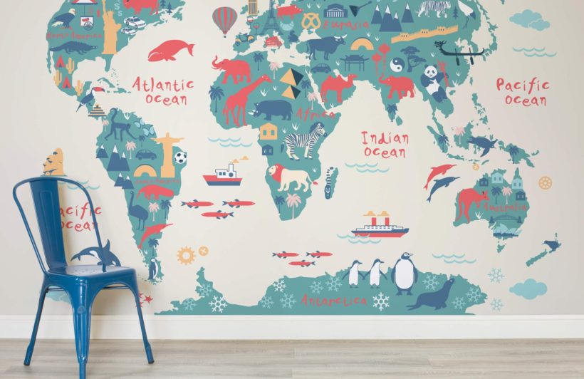 World Map Wall Murals