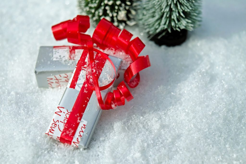Wrapped parcels / gifts in the snow