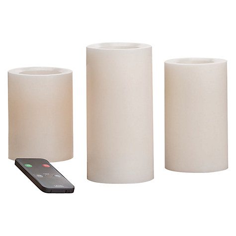 LED Candles with Remote, Pack of 3 from John Lewis
