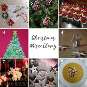 Gallery showing all 8 of the contributing blogger's Christmas posts. There are Christmas Decorations, Festive recipes, Christmas crafts and more.