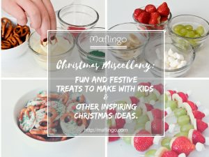 Christmas food and recipe ideas: fun, festive and delicious treats which are perfect for making with kids. White chocolate coated pretzels with green and red sugary sprinkles and Santa Hat fruit skewers plus other inspirational ideas from other bloggers including festive food, decorations, crafts and more