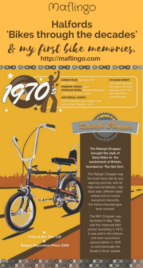 In the run up to Christmas Halfords have turned back the clock, celebrating bikes through the decades. The Raleigh Chopper & many more are remembered. I remember my first bike