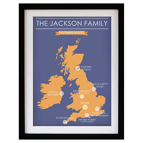 Betsy Benn Favourite Place Map Framed Print, Black Frame, 48.7 x 37.7cm, Blue/ Orange