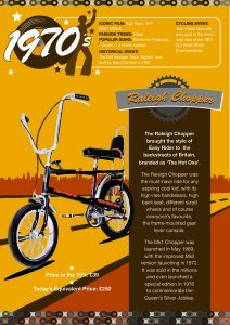 Halfords bikes through the decades poster. The 1970's raleigh Chopper.