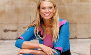 A jumpsuit-clad Anneka Rice, the star of the 1980's Channel 4 TV series, Treasure Hunt.