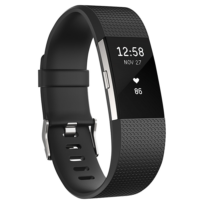 Fitbit Charge 2 Heart Rate and Fitness Tracking Wristband, Large, Black / Silver