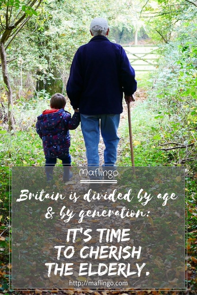 It's time to cherish the elderly. Research shows Britain is increasingly divided by age & by generation, with the oldest suffering due to social exclusion. It's time bridge the generation gap. Picture of elderly man with small child, walking in woods.