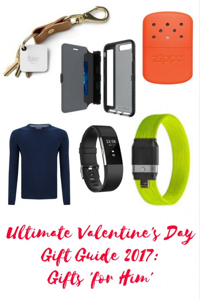 Maflingo's ultimate valentine's gift guide 2017: For Him. I've chosen 6 of my favourite ideas for valentine's gifts for the man on your life. Cashmere jumper, Litelok bike lock, Fitbit Charge 2, Zippo hand warmer, tech21 Wallet Active iPhone case, Tile Mate tracker. Collaborative post.