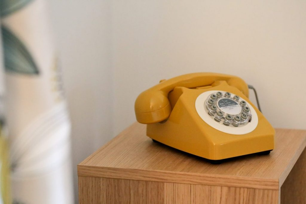 Our Mustard Yellow, 746 Phone: A 1960's Retro Design Classic ties in beautifully with our yellow and teal curtains.
